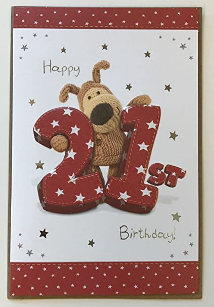 Amazon Boofle Brown Wooly Bear Happy 21st Birthday Card 9