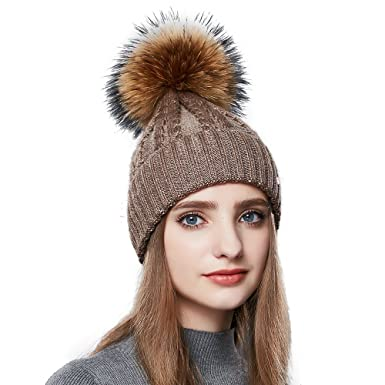 a375ffdfcd7824 Womens Winter Beanie Hat with Real Fur Pom Pom Knit Beanies Ski Caps Brown