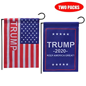 US First Trump 2020 Flag, Donald Trump Flag 12 x 18 Inch Double Sided, Trump Yard Flags with Premium Fabric- Keep America Great and US Stars and Stripes Flag (2 packs)