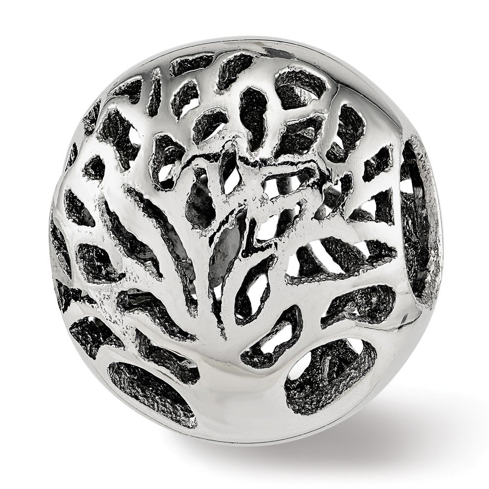 Sterling Silver Jewelry Themed Beads Solid 11.8 mm 13.3 mm Reflections Polished Cut-out Tree Bead