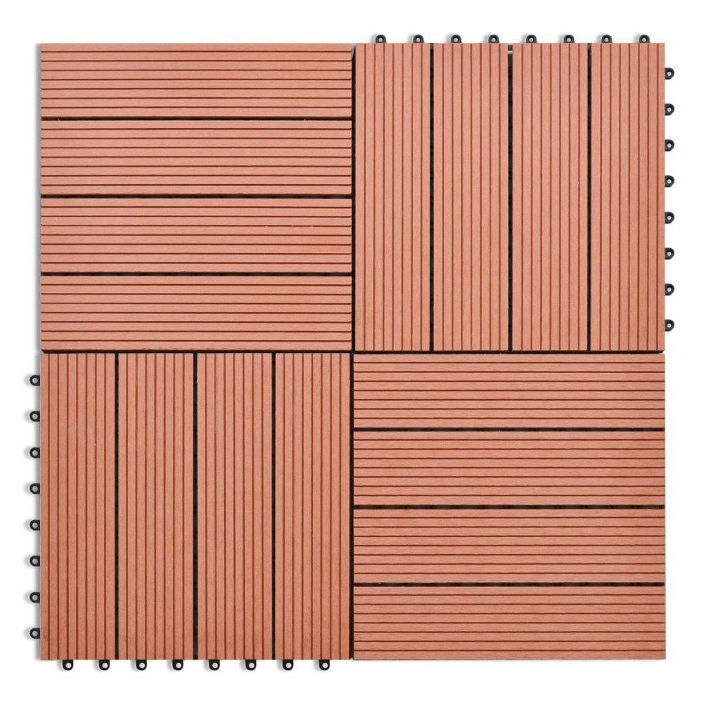 Daonanba Wood Plastic Composite Tile Set WPC Tiles 11.8''x11.8'' 11 pcs 11 ft² Brown