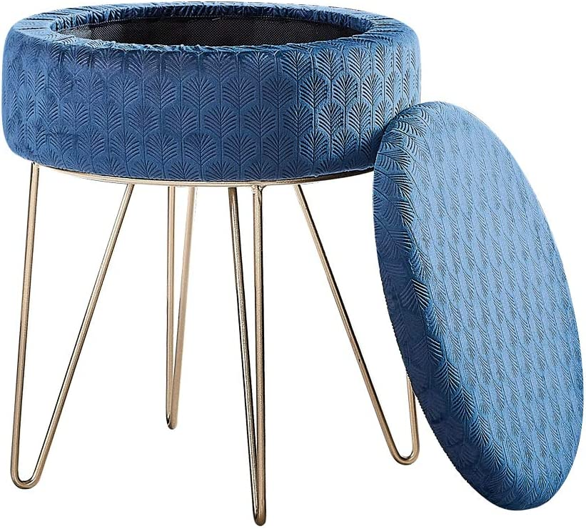 Mxfurhawa Velvet Round Footrest Stool Ottoman, Modern Upholstered Vanity Pouffe Stool Storage Function Side Table Seat Dressing Chair for Bedroom Living Room with Golden Metal Leg (Blue)
