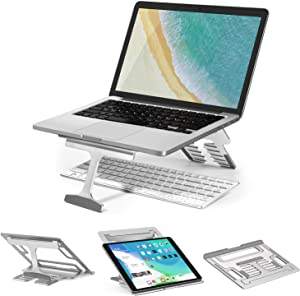 Laptop Riser Stand Portable, iVoler Ergonomic Computer & Notebook Stand Holder for Desk, Foldable Laptop Lift, Height Adjustable, Compatible with MacBook Air Pro, Dell XPS, HP, Lenovo (10-15.6'')
