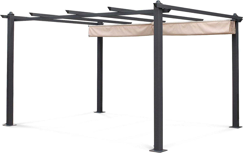 Alices Garden - Pérgola de Aluminio (3 x 4 m, Lona Beige, Ideal ...