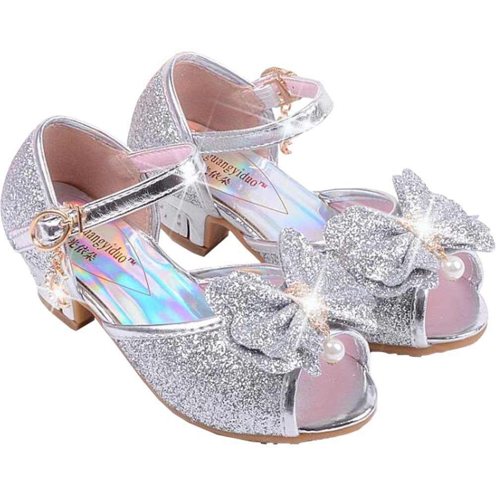 Wangwang Children Princess Girls Sequin Sandals Crystal High Heels Shoes (13.5 M US Little Kid, Silver)