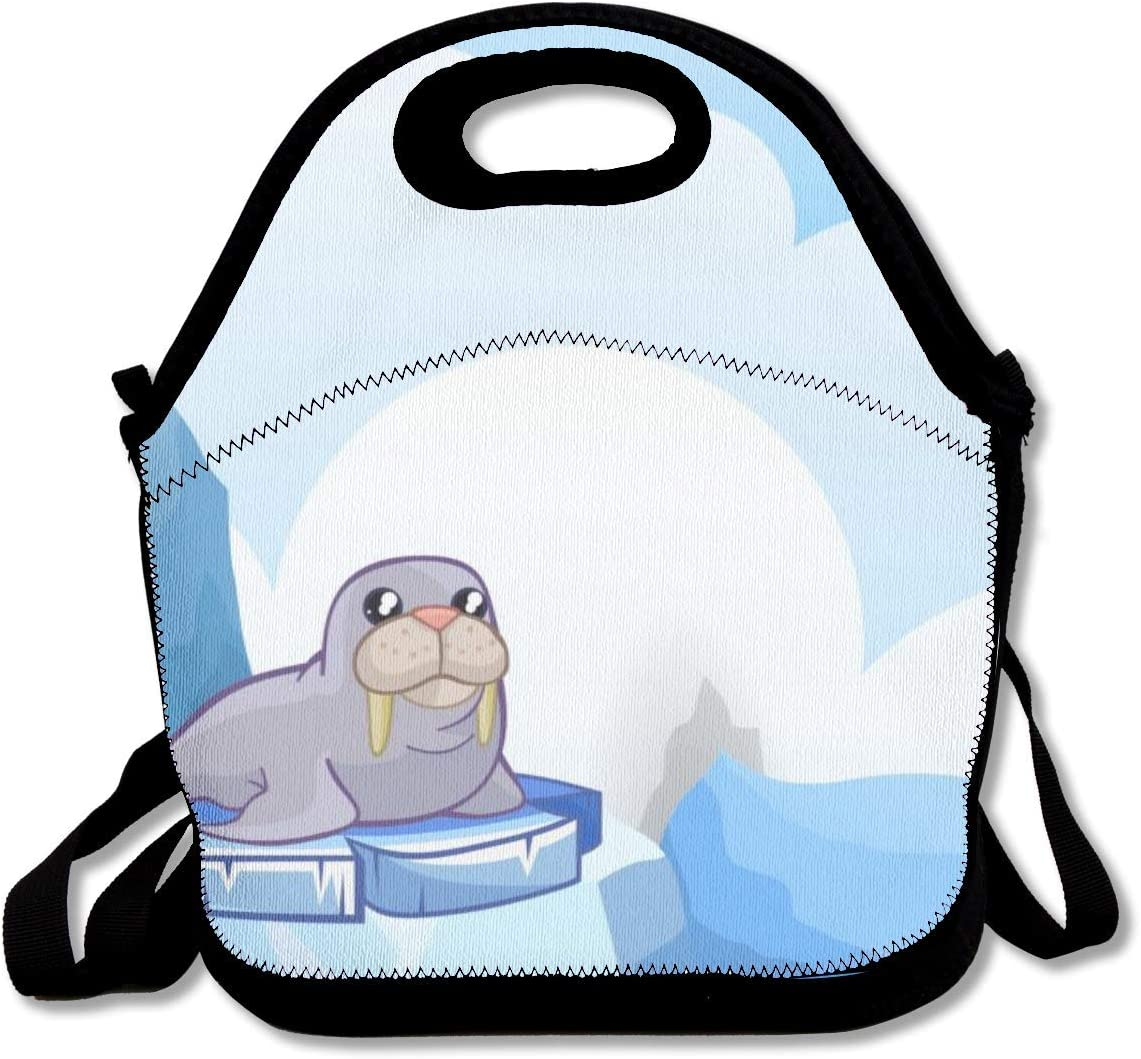 Contenedor de almuerzo, Sea Lion On Creative Iceberg Bolsas de almuerzo Lunch Bag Lunch Boxes Lunch Bag Girls Lunch Box 27.5x29x14.5cm
