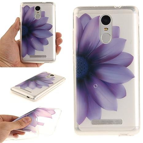 Guran® Silicona Funda Carcasa para Xiaomi Redmi Note 3 / Note 3 Pro Smartphone Bumper TPU Case Cover-Mitad Flor púrpura