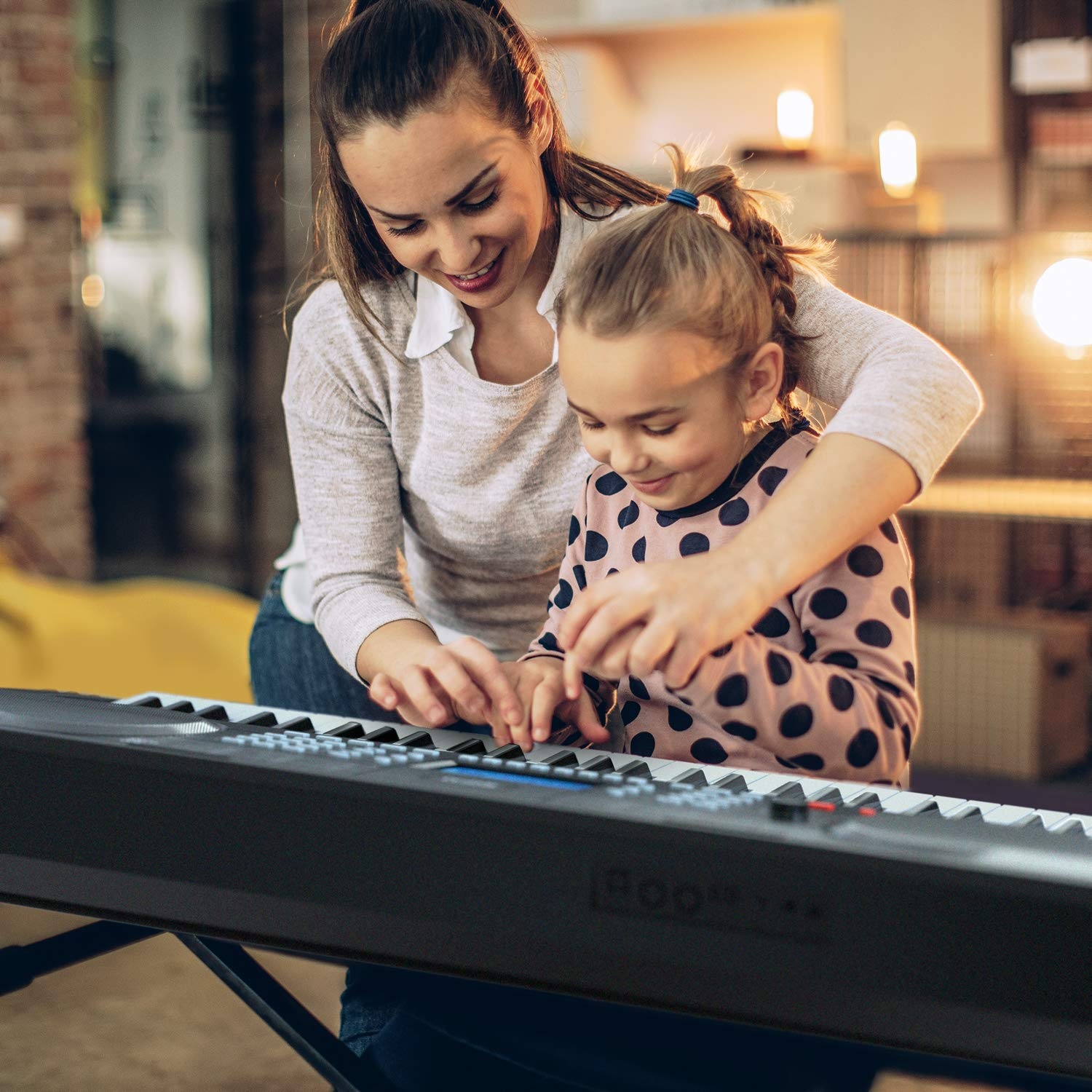 RIF6 Electric 61 Key Piano Keyboard - with Over Ear Headphones, Music Stand, Digital LCD Display, Teaching Modes and Adjustable Stool - Electronic Musical Instruments Starter Set for Kids and Adults by RIF6 (Image #5)