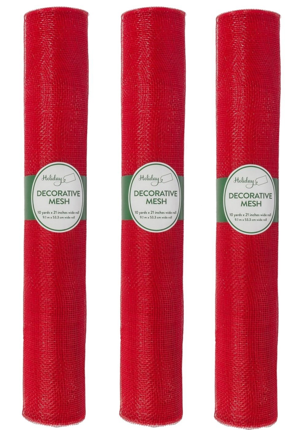 Holiday 21'' x 10 Yards Decorative Mesh Ribbon, Holiday Red, Pack of 3