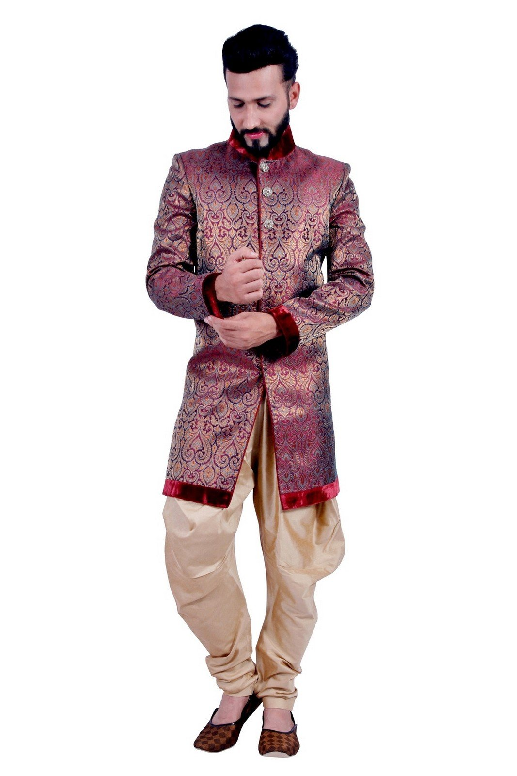 Maroon and Gold Indian Festival Indo-Western Formal Wedding Sherwani for Men