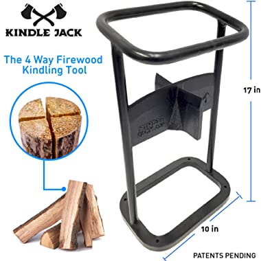 EasyGoProducts Jack Axe Wedge Firewood Kindling Tool Cuts 4 Ways – Wood Log Cracker Splitter-Patent Pending