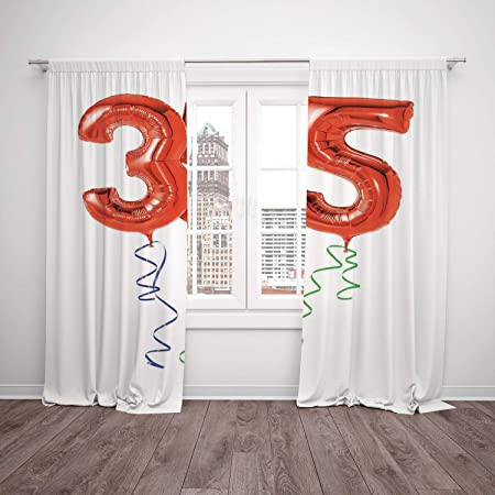 Polyester Window Drapes Kitchen Curtains35th Birthday DecorationsVivid Colored Balloons Flying With Curly