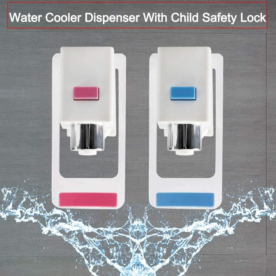 Water Cooler Faucet,Water Dispenser Spigot,Push Style with Child Safety Lock for Ro System Adaptor Hot Cold Water,2 pieces Plastic,Red//Blue