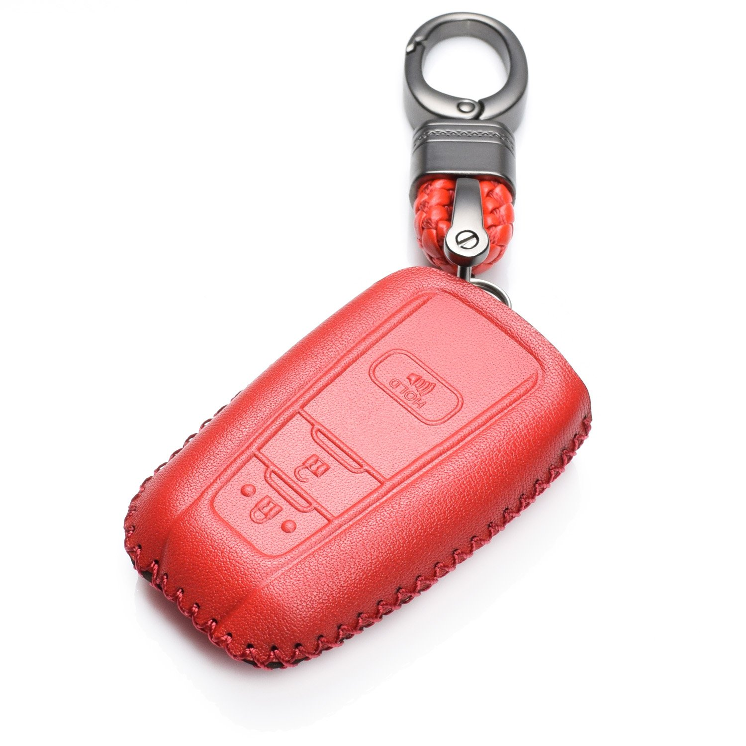 Vitodeco Genuine Leather Smart Key Keyless Remote Entry Fob Case Cover with Key Chain for Toyota C-HR, Camry, Prius (3 Buttons, Red)