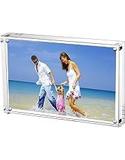 AMEITECH Cadre de Photo Magnétique, Cadres de Photos Acryliques, Porte 15 x 20 cm de Photos, 10 + 10 mm D'épaisseur, écran sans Carte de Fond pour Carte Postale - Transparent