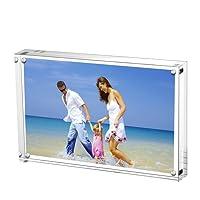 Acrylic Photo Frames 6x8'',Magnetic Acrylic Block Picture Frame,Desktop Frameless Photograph Display