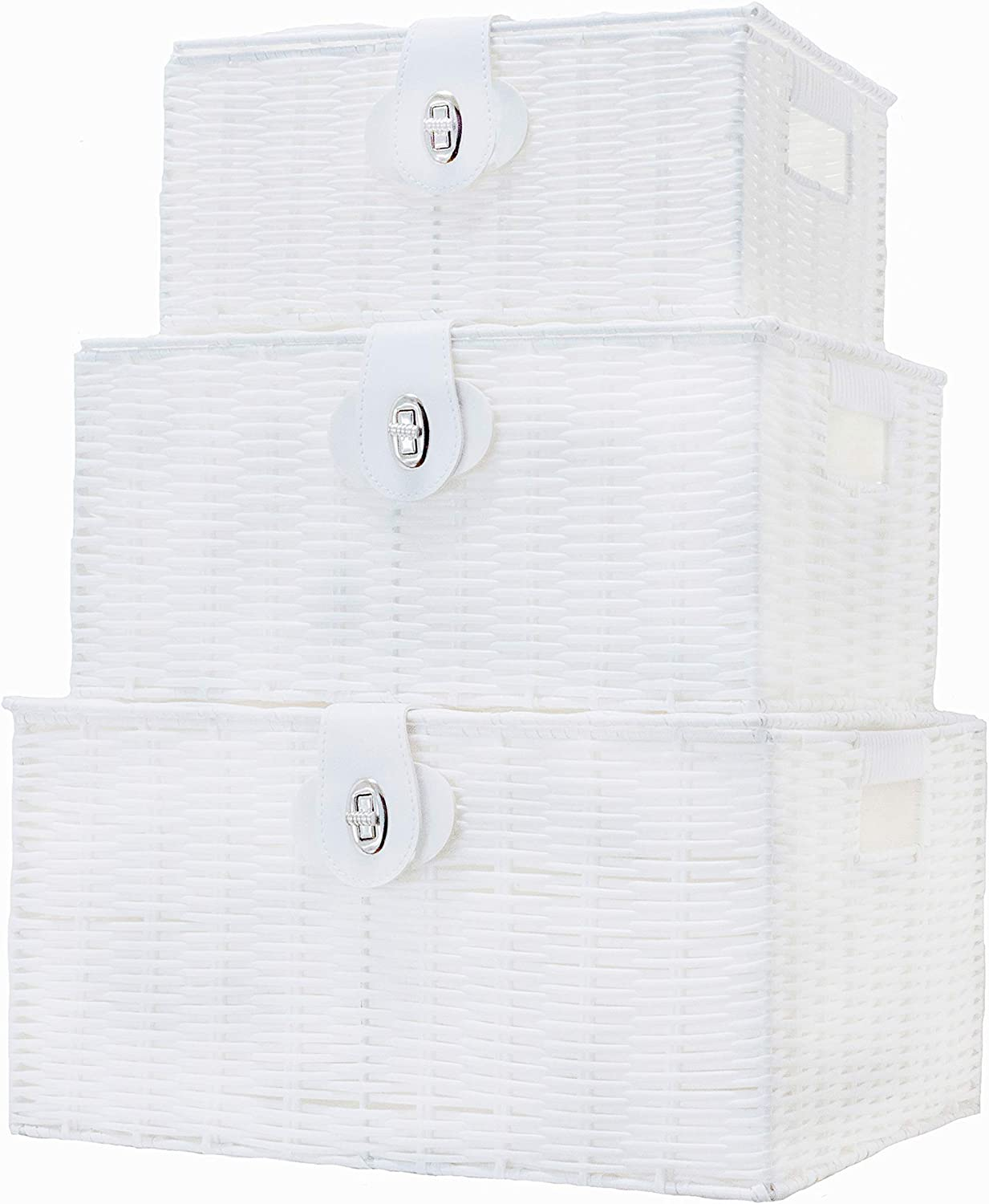 Vencier Set of 3 Resin Woven Storage Basket Box with Lid & Lock, White, Large, Medium, Small (White)