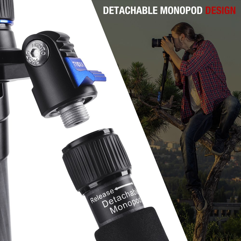 Tornillo de 1//4 Bloqueo r/ápido de Patas Cabeza de Bola Tr/ípode de Fibra de Carbono de 58// 148 cm TYCKA Tr/ípode de Viaje liviano con Rango de Giro de 360/º para c/ámaras Canon Nikon Pentax DSLR