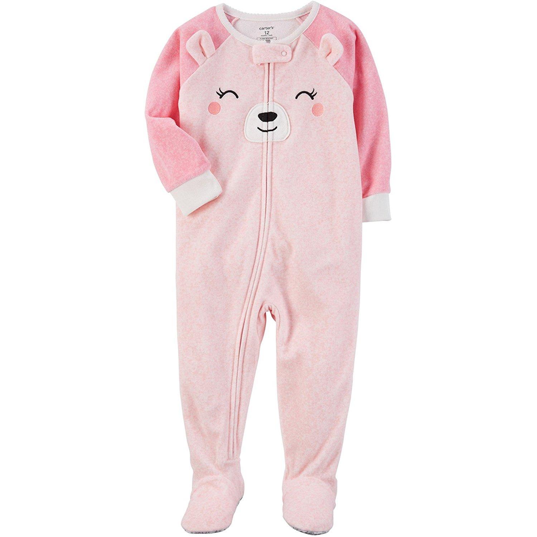 Carter's Baby Girls' 12M-24M One Piece Bear Fleece PJS 24 Months