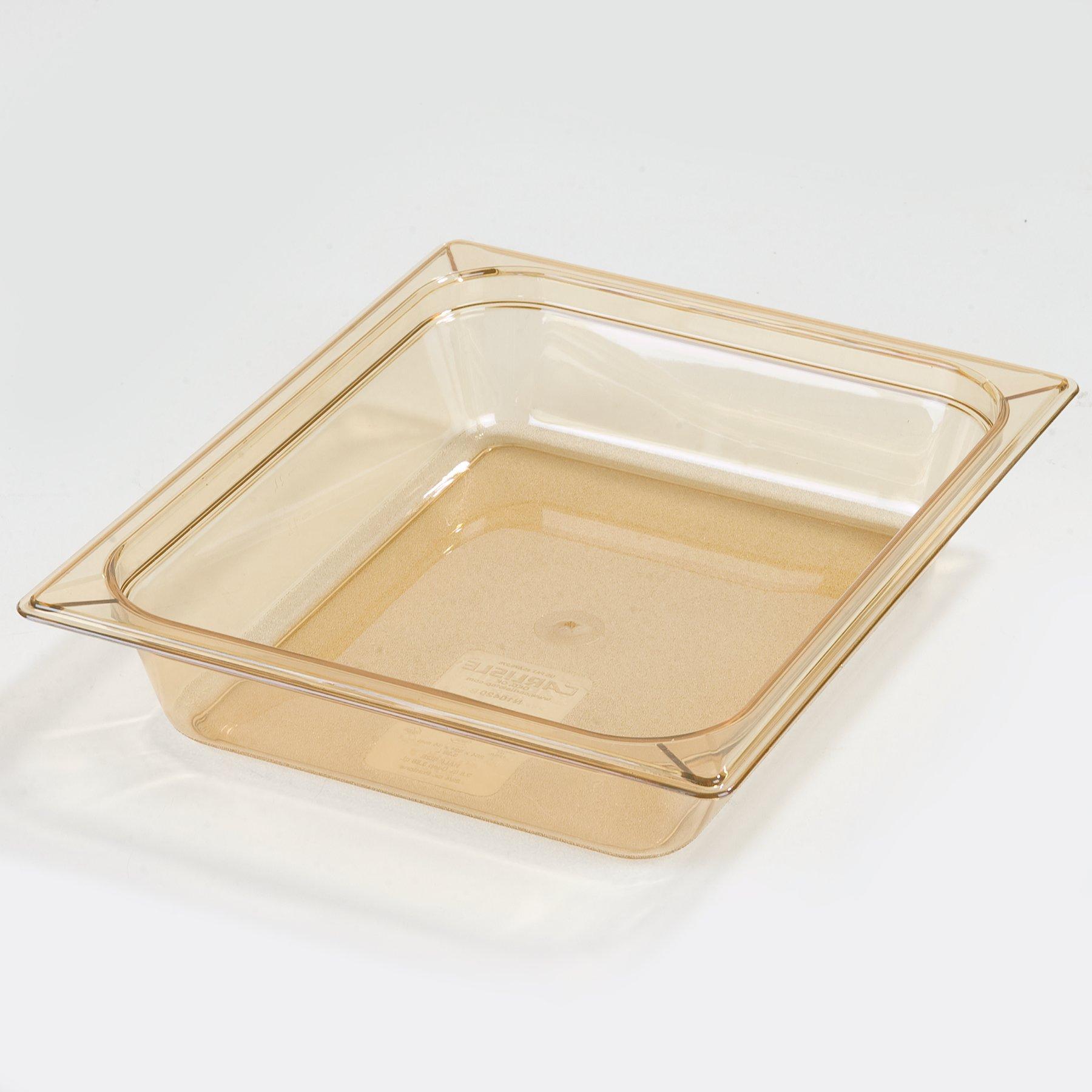 Carlisle 10420B13 StorPlus Gastronorm High-Heat Half-Size Food Pan, 2.5 qt. Capacity, 12-3/4 x 10-3/8 x 2-1/2'', Amber (Case of 6)