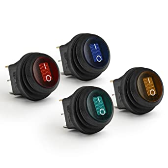 APIELE Rocker Toggle Switch DC 12V 20A ON-Off with Dot Light SPST 3 Pins 2 Position 8Pcs KCD2-102N Blue