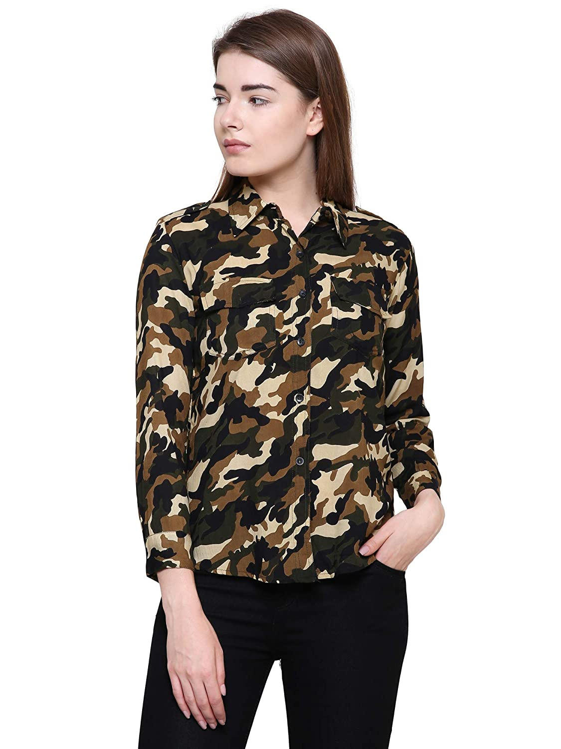 55e48f37 POISON IVY Women's Casual Military Green Shirt: Amazon.in: Clothing &  Accessories