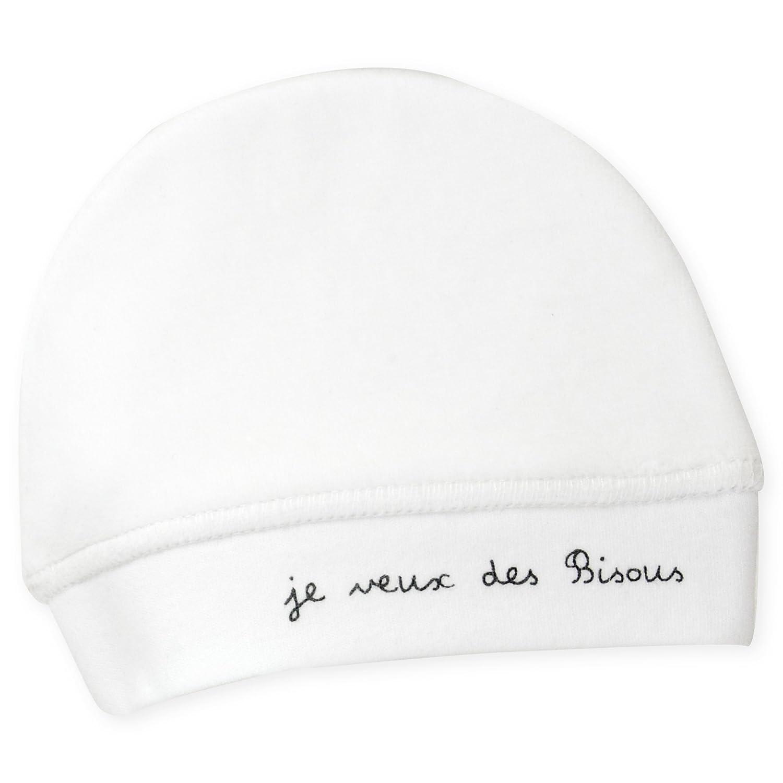 Trois Kilos Sept Bonnet en Velours Blanc Motif Je Veux des Bisous Naissance 807 5016 BLANC