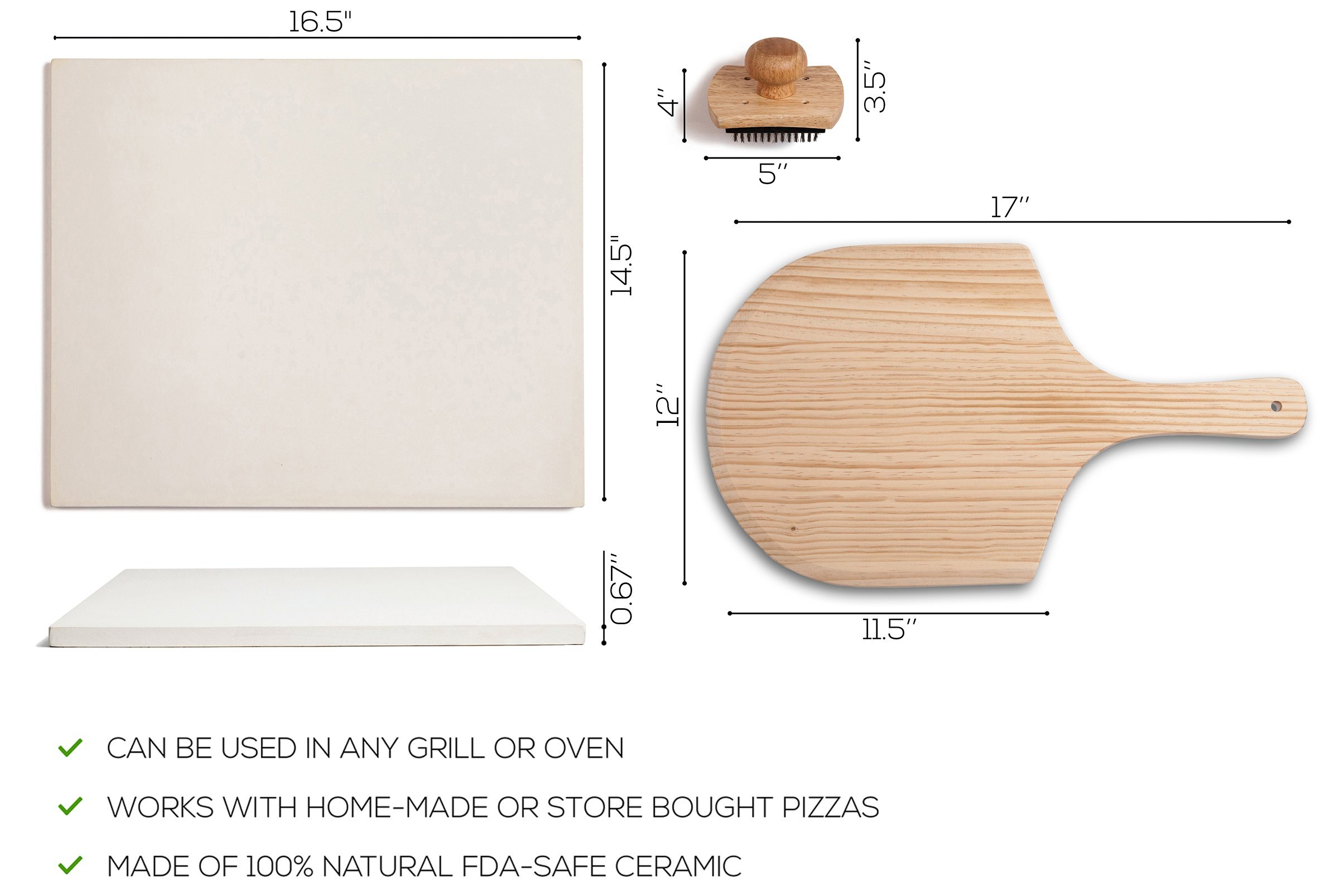 Pizza Stone Set for Baking & Cooking Pizzas & Bread in Oven, Grill or BBQ - Rectangular Stone 16.5''x14.5'', Wood Pizza Peel & Brush - Large Ceramic Pan Cooks Pizza Evenly & Gives Crispy Crust by Kenley (Image #6)