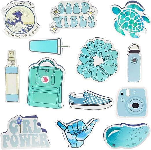 Amazon Com Vsco Stickers Water Bottle Stickers Vinyl Cute Aesthetic Waterproof Blue Sticker Pack Vsco Girl Stuff For Teens Kids Arts Crafts Sewing