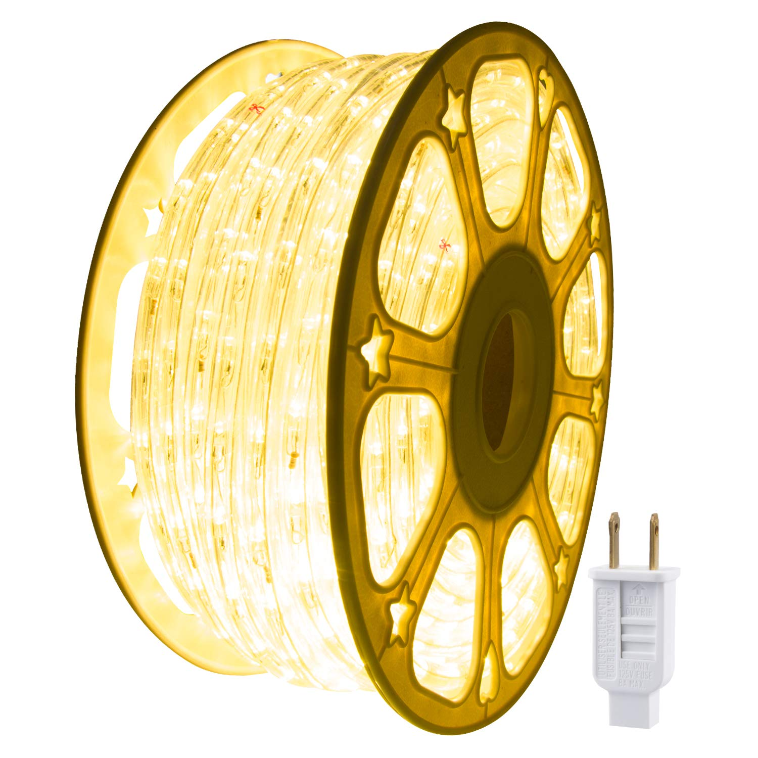 JUNWEN Led Rope Lights Outdoor, Indoor, 114ft 35m, Strip Light, Warm White, 1260LEDs, Waterproof, String Lighting, Plug in 110V, Connectable, Cuttable, Flexible, 8A Fuse Holder Powered