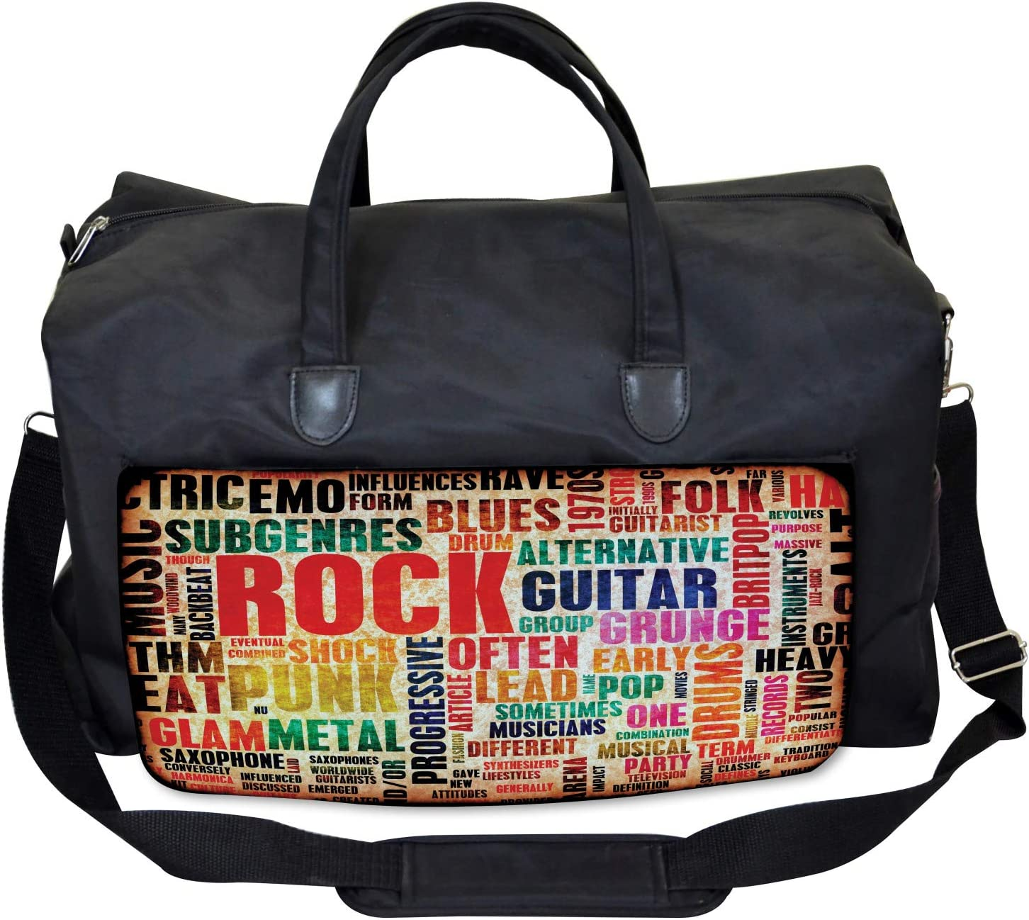 Large Weekender Carry-on Ambesonne Retro Gym Bag Music Rock n Roll Poster