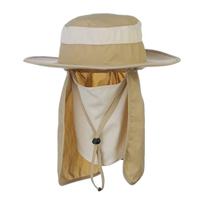 Amazon.com   Fishing Hat with Removable Neck Face Flap Cover for Man ... 8096615212e