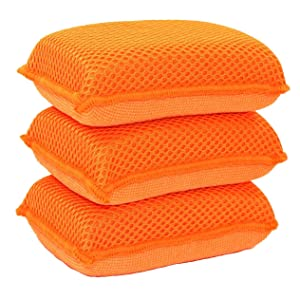 Miracle Microfiber Kitchen Sponge by Scrub-It - Non-Scratch Heavy Duty Dishwashing Cleaning sponges- Machine Washable- (Orange)