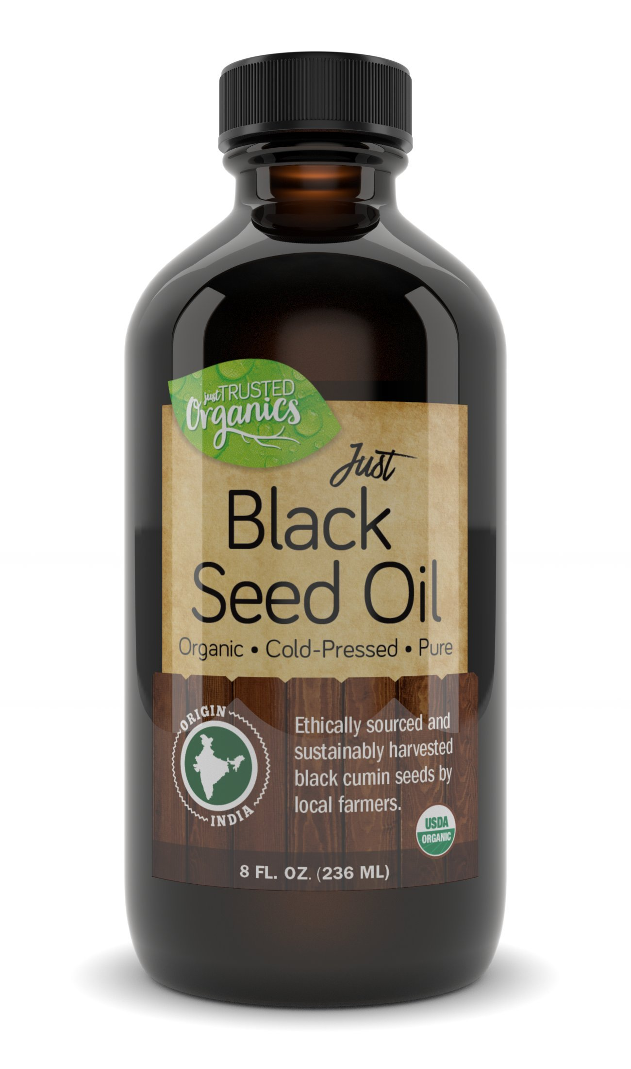 Black Seed Oil by Trusted Organics - Organic, Cold-Pressed, Additive-Free, Pure Nigella Sativa Oil - Great for Skin, Inflammation, and Appetite Control - Money Back Guarantee - 8 Fl oz Glass Bottle