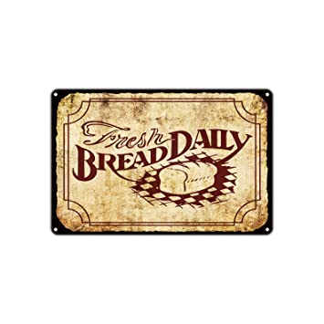 Amazon.com: Fresh Bread Daily Vintage Retro Bakery Pastry Shop Metal ...