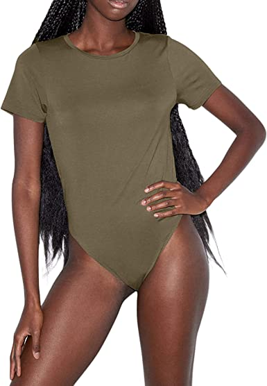 Female Bodysuit Crew Neck Leotard Short Sleeve Solid Tops T-shirt Jumpsuit 6A