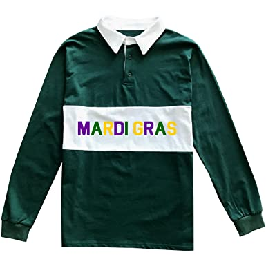 76b38049a Kings Of NY Mardi Gras Costume Mens Long Sleeve Sports Polo Rugby Shirt  Small Green