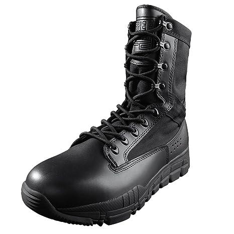 FREE SOLDIER scarpe da trekking da uomo in pelle militare scarpe  impermeabili stivali da combattimento 659dee8d4bd