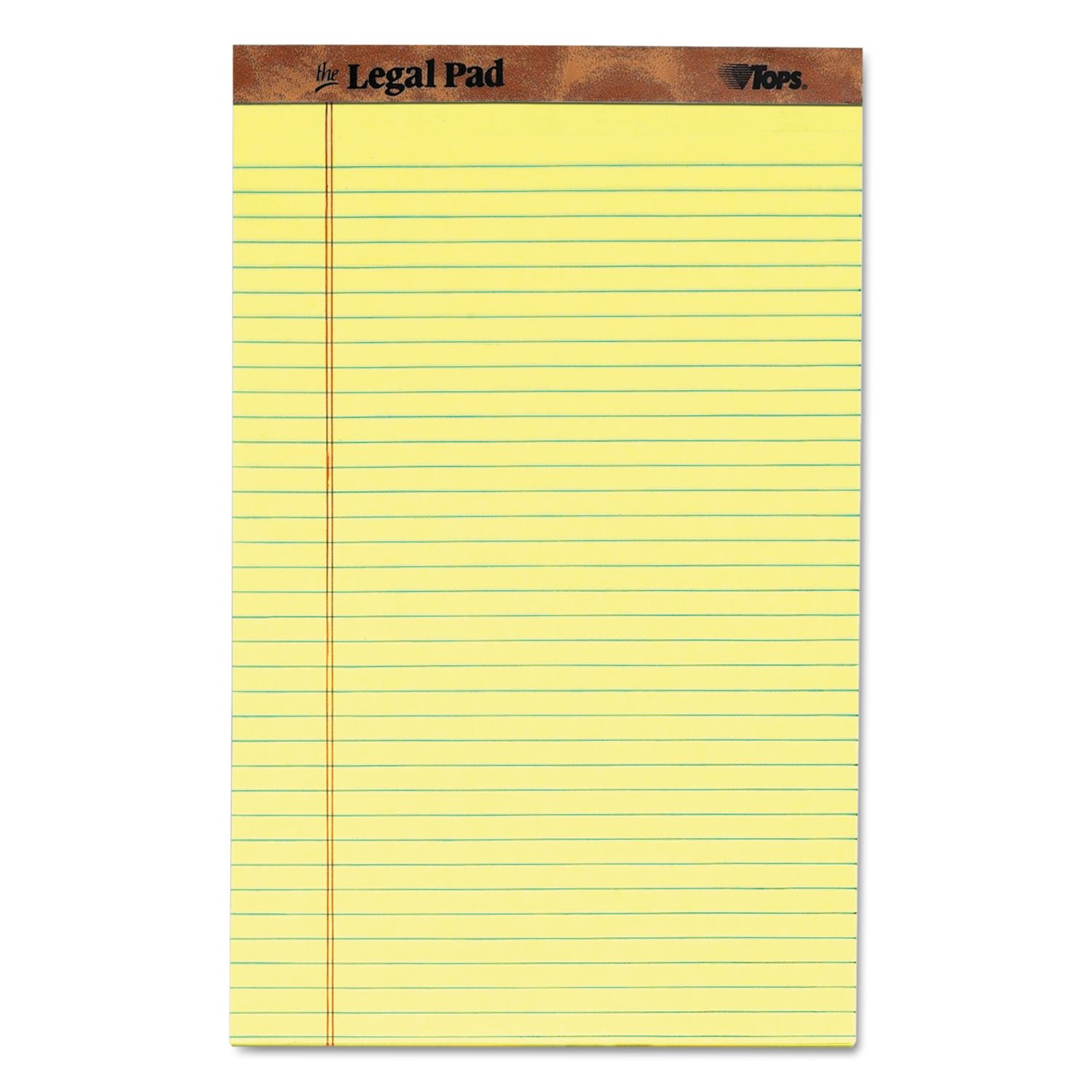 TOPS 7572 The Legal Pad Ruled Perf Pad, Legal/Wide, 8 1/2 x 14, Canary, 50 Sheets, Dozen