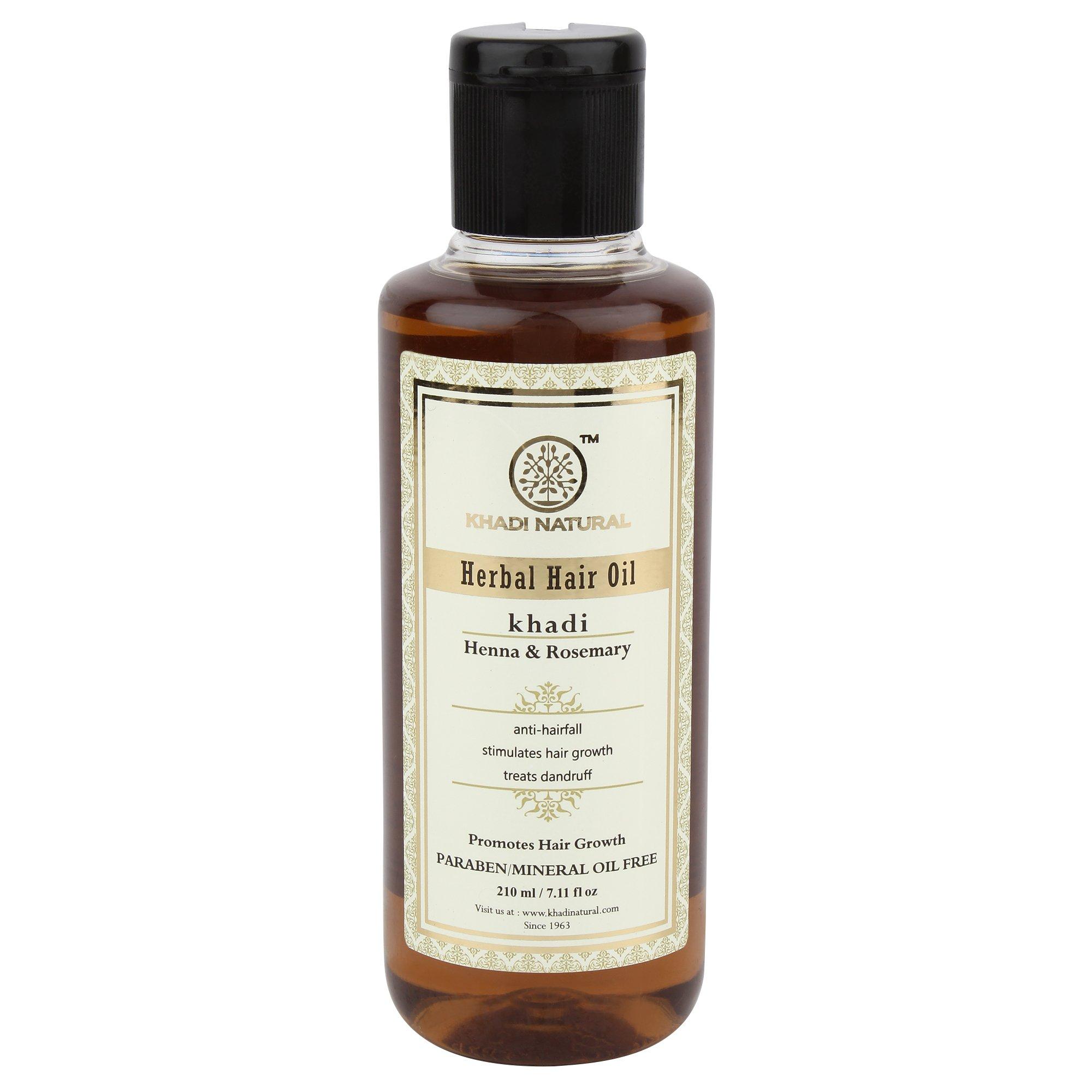 Khadi Natural Herbal Ayurvedic Rosemary and Henna Hair Oil (210 ml) by KHADI