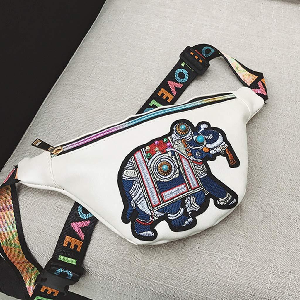 White Sample9 Women Elephant Embroidery Fanny Pack Travel Waist Bag PU Leather Purse Bum Bags