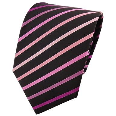 TigerTie - Corbata - violeta lila rosa magenta negro rayas: Amazon ...