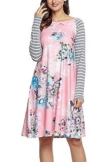 35e3d47b983e HOTAPEI Women's Floral Print Casual Long Sleeve A-line Loose T-Shirt Dresses  Knee