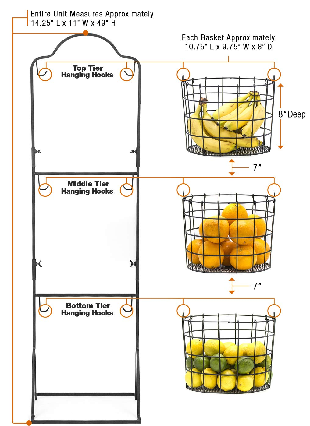 FRT-HNG3TRA Bathroom Storage Organization Stylish Tiered Serving Stand Baskets for Kitchen Household Items Vegetables Black Sorbus 3-Tier Wire Market Basket Stand for Fruit and More Toiletries