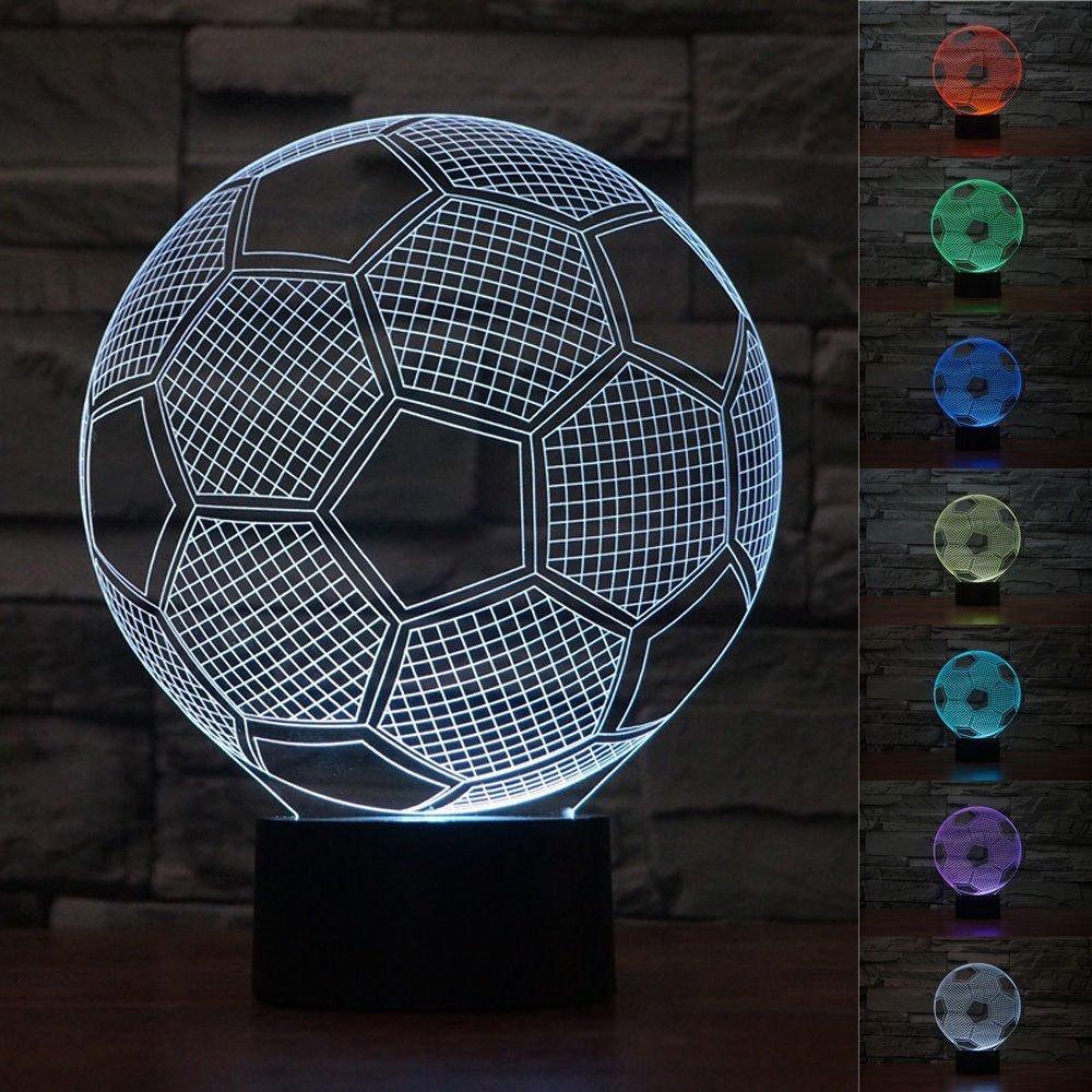 iRoundy 3D LED Lampen Licht Kunst, USB-Ladekabel Art Sculpture Leuchtet, Karikatur Lichteffekte Visualisierung Nachtlicht, Tisch Schlafzimmer Lampen (Fußball)