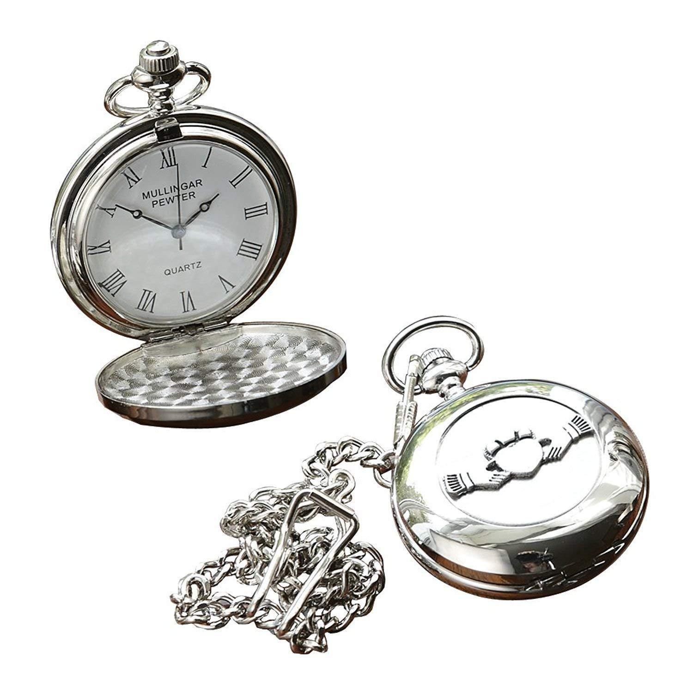 Irish Celtic Claddagh Pocket Watch by Mullingar Pewter by The Irish Store - Irish Gifts from Ireland (Image #1)