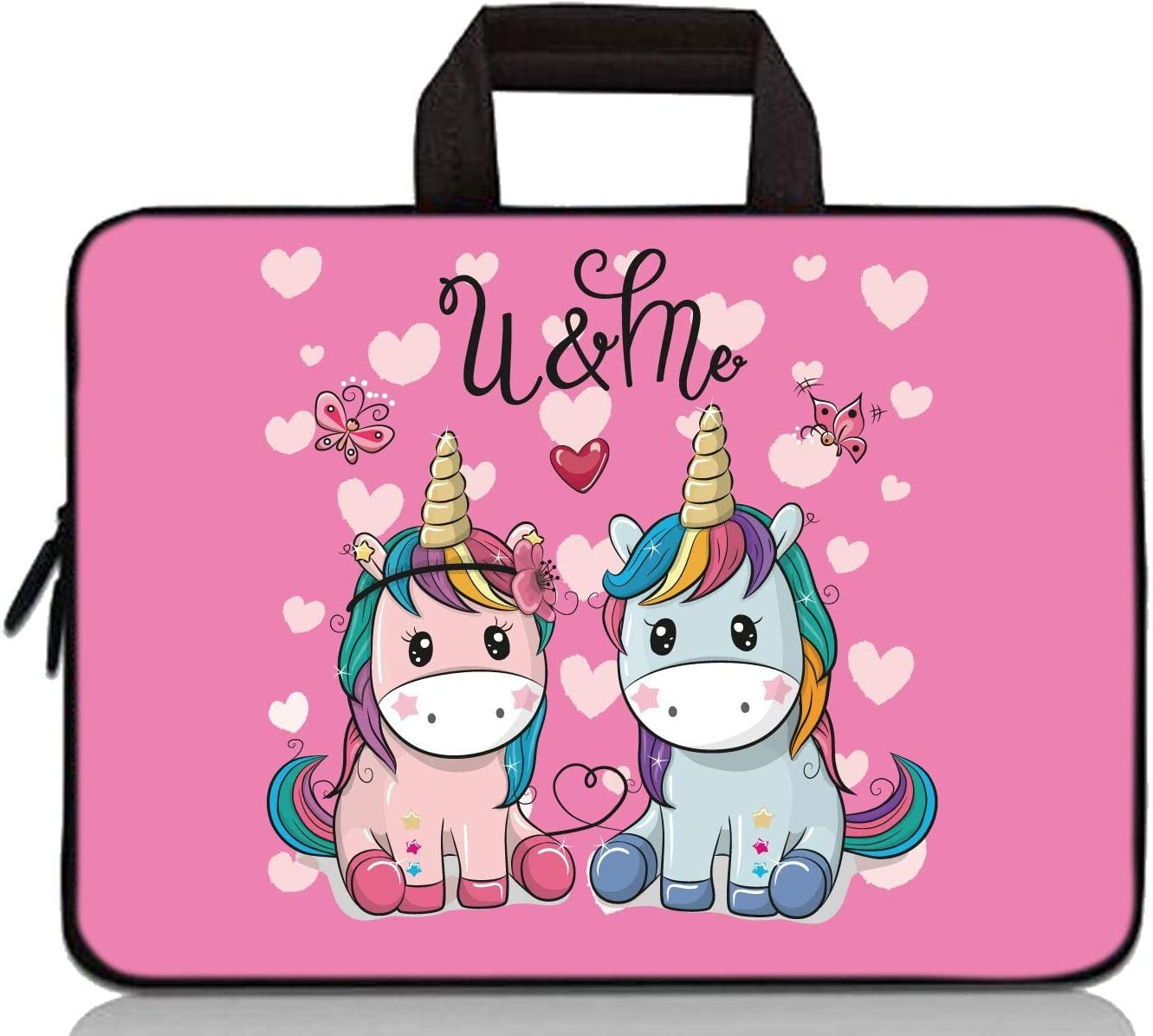14 15 15.4 15.6 inch Laptop Handle Bag Computer Protect Case Pouch Holder Notebook Sleeve Neoprene Cover Soft Carrying Travel Case for Dell Lenovo Toshiba HP Chromebook ASUS Acer (Cute Small Unicorns)