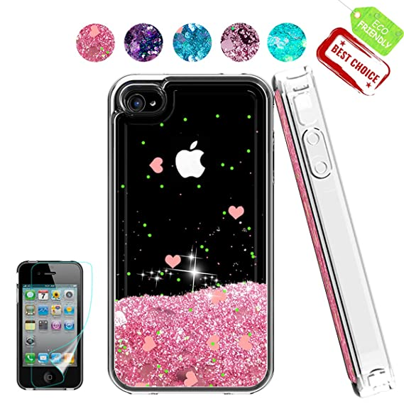 size 40 f25eb d9622 iPhone 4 Case,Apple iPhone 4 4S Case, Atump Glitter Flowing Liquid Floating  Protective Shockproof Clear TPU Girls Cover Case for Apple iPhone 4/4S ...