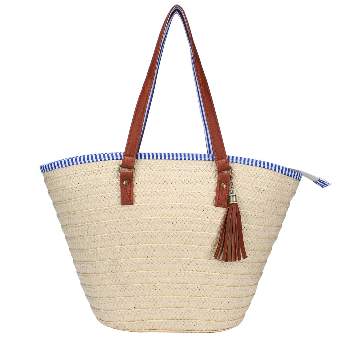 Sornean Straw Beach Bag Handbags Shoulder Bag Tote,Cotton Lining,PU Leather Handle-Eco Friendly (Off White)