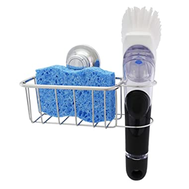 The Crown Choice Patented Suction Kitchen Sponge Holder and Brush Sink Caddy (1PK) | Stainless Steel Sink Organization Suction Basket for Sponges, Scrubbers, Dish Brushes